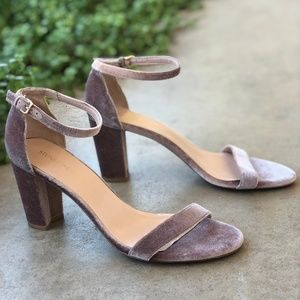 Stuart Weitzman Mauve Velvet Block Heel Sandals